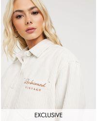 Reclaimed (vintage) Светло-бежевая Вельветовая Oversized-рубашка С Вышитым Логотипом -кремовый - Многоцветный