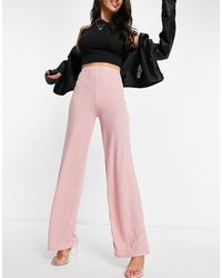 Flounce London Pantaloni basic a vita alta con fondo ampio color cipria - Rosa