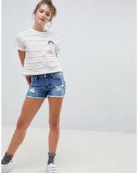 ONLY - Pearl Raw Hem Denim Shorts - Lyst