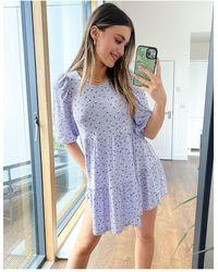 Monki Mari Mini Tiered Ditsy Floral Smock Dress - Blue