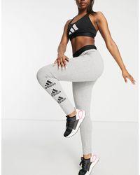 adidas Originals Adidas Training leggings With Side Logo - Grey