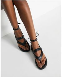 KG by Kurt Geiger Kg By Kurt Geiger Ralley Vegan Toe Thong Ankle Wrap Sandals - Black