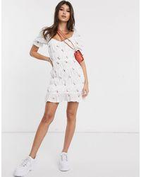 Missguided Белое Платье Мини С Цветочным Принтом И Сборками -белый