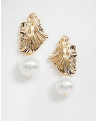 River Island - Earrings With Drop Pearl Detail In Gold - Lyst