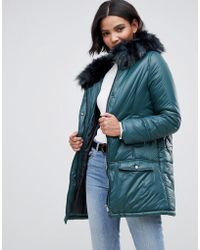 Urbancode Parka Coat With Onion Quilting And Faux Fur Hood - Green