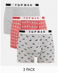 TOPMAN 3 Pack Trunks With Christmas Designs - Multicolor