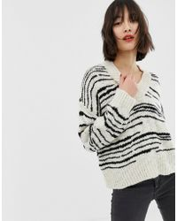 Mango - Striped Oversized V Neck Sweater In Black And White - Lyst