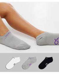 Calvin Klein Набор Спортивных Носков С Логотипом Серого, Белого И Черного Цвета Performance - Многоцветный