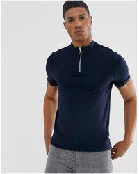ASOS Organic Muscle Fit Zip Turtle Neck T-shirt - Blue