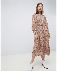 Mango - Synch Waist Maxi Dress In Snake Print - Lyst
