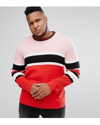 ASOS - Plus Ribbed Jumper In Red And Pink Stripe - Lyst