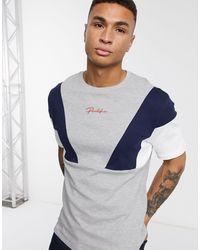 River Island T-shirt color block grigio mélange