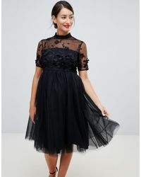 Chi Chi London High Neck Tulle Midi Dress With Floral Applique - Black
