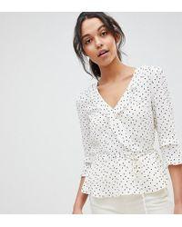 Oasis Polka Dot Frill Wrap Top - White