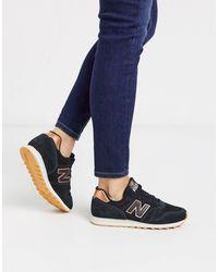 New Balance Черные Кроссовки С Золотисто-розовой Отделкой 373-черный