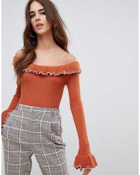 Fashion Union - Off Shoulder Jumper With Crinkle Hem - Lyst