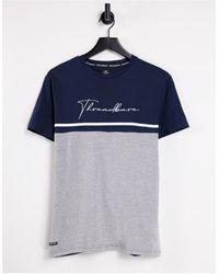 Threadbare T-shirt color block blu navy con logo