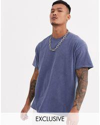Reclaimed (vintage) Camiseta azul marino extragrande con diseño teñido