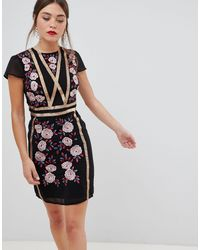 Frock and Frill Frock & Frill Short Sleeve Dress With Embroidered Panel - Black