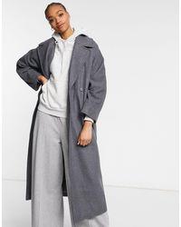 Weekday Длинное Классическое Пальто Серого Цвета С Поясом Kia-серый