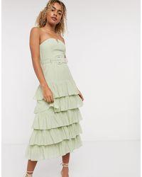 & Other Stories Ярусное Зеленое Платье Без Бретелек -зеленый