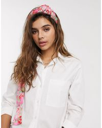 ASOS Bright Floral Print Twist Front Headscarf - Pink