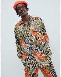 Jaded London Zebra Baroque Printed Pyjama Shirt - Black