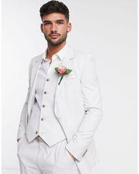 ASOS Светло-серый Приталенный Пиджак - Многоцветный