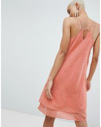 Pieces - Printed Cami Dress With Strap Detail - Lyst