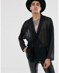 Heart & Dagger Sheer Kimono - Black