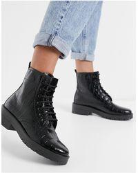 TOPSHOP Черные Ботинки На Шнуровке С Эффектом Крокодиловой Кожи -черный