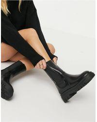 Pimkie - Черные Массивные Ботинки Челси Без Застежки Со Вставками -черный - Lyst