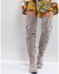 Daisy Street Lace Back Gray Over The Knee Boots