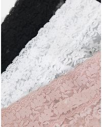 Lindex - Набор Из 3 Кружевных Трусов Черного, Белого И Розового Цветов С Высокой Талией -multi - Lyst