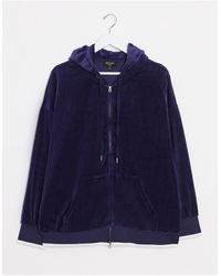Juicy Couture Black Label Ombre Studs Velour Hooded Jacket Royal - Blue