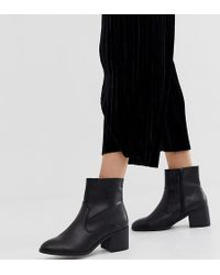 New Look - Pu Block Heeled Boot In Black - Lyst
