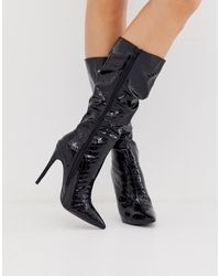 Lost Ink Slouch Long Boot - Black