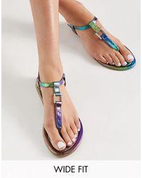ASOS - Wide Fit Fulfil Hardware Flat Sandals - Lyst