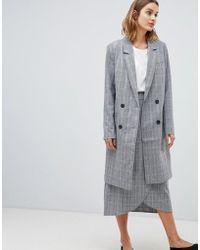 Gestuz - Danielle Tailored Check Longline Coat - Lyst