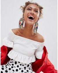 ASOS - Design Statement Carinval Beaded Tassel Earrings - Lyst