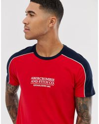 Abercrombie & Fitch Logo Shoulder Taping T-shirt In Red/navy