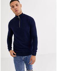 New Look Half Zip Sweater - Blue