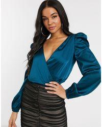 Missguided Satin Wrap Bodysuit - Blue