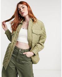 Bershka Стеганая Рубашка-шакет Навыпуск Цвета Хаки Из Нейлона -зеленый Цвет