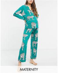 Chelsea Peers Зеленая Пижама Из Переработанного Полиэстера С Леопардовым Принтом Maternity-зеленый