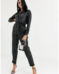Blank NYC Leather Look 80s Jumpsuit - Black