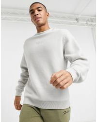River Island Fleece Crew Sweatshirt-grey - Gray