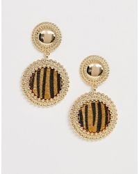 ASOS Earrings With Engraved Stud And Tiger Skin Drop In Gold Tone - Metallic