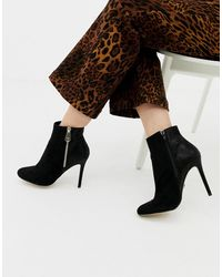 Lipsy Zip Up Heeled Ankle Boot In Black
