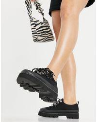 ASOS Черные Туфли На Плоской Массивной Подошве С Парусиновым Верхом - Черный
